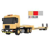 Cartoon Lowboy Trailer Truck 3X Color