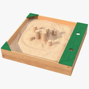 sand castle sandpit 3D