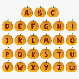 pumpkin alphabet 3D