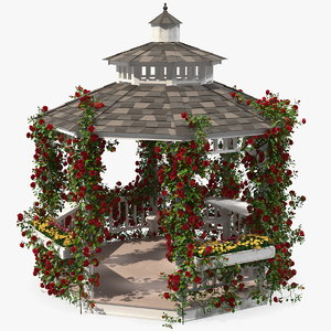 gazebo covered red rose 3D model