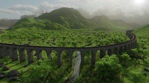 3D model landscape nature