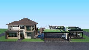 luxury modern pool villa 3D