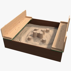 wooden sandbox sand castle 3D