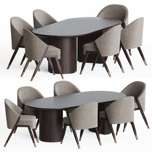 3D model carmel dining chairs table