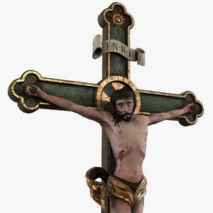 3D wooden medieval crucifix churches