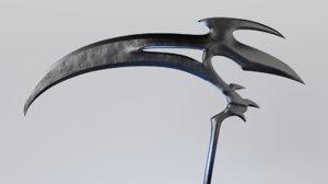 3D fantasy scythe