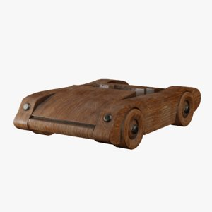 3D antique wooden toy sports car model
