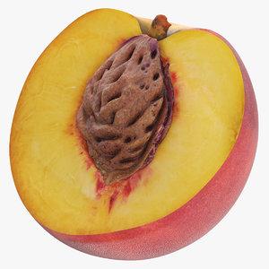 peach half cut seed 3D model