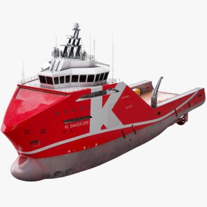 platform supply vessel sandefjord 3D model