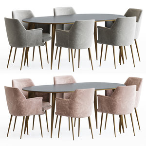 wing dining chair table 3D