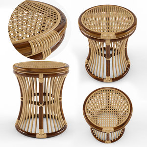 rattan table natural 3D model