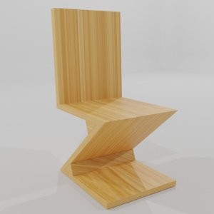 3D stylized zig zag chair