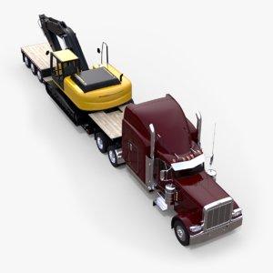 3D lowboy semi truck excavator