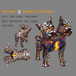dogtwoheads rigged animate 3D model