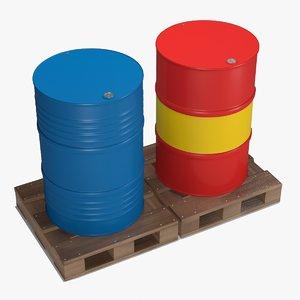 metal barrels pallets 3D model