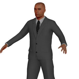 adult male business rigged character 3D model