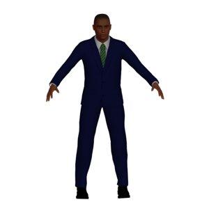 adult black male navy 3D model