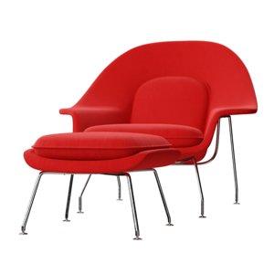 womb chair ottoman eero saarinen 3D model