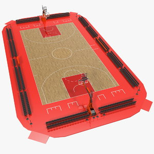 3D basketball court baskets sport ball