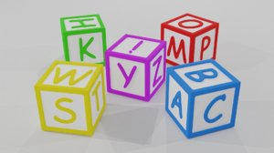 3D model alphabet blocks