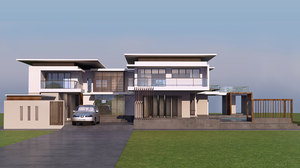 3D luxury modern pool villa