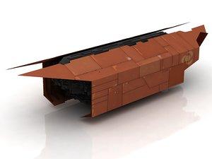 3D model cargo starship spaceship star