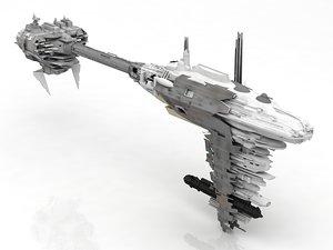 3D model scifi frigate spacecraft spaceship