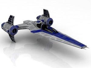 3D rebelion spacecraft spaceship t-65