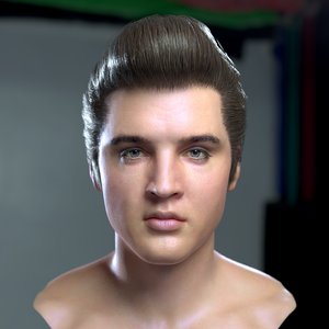 3D elvis presley head celebrity model