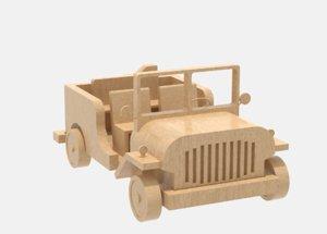 3D model wooden jeep