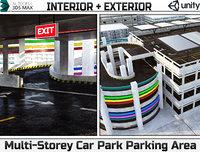 Multi-Storey Car Park Parking Area Low-poly