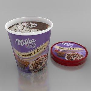 3D model milka brownie berry ice cream