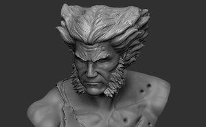 wolverine bust damage fanart 3D