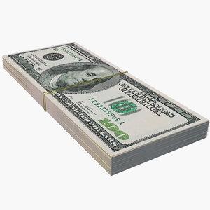 dollar bill stack 3D model