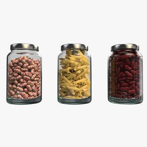 3D model beans pasta 001