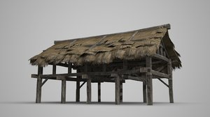 3D thatched shed horses