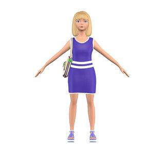 cartoon girl mary blonde 3D model