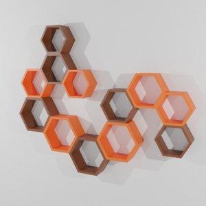 hexagonal wall shelf 3D model