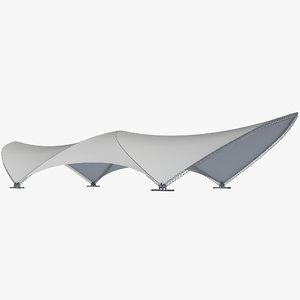 3D model tent shelter pavilion
