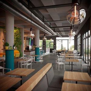 style coffeeshop bar restaurant 3D