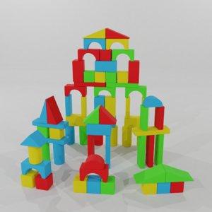 3D model baby block towers