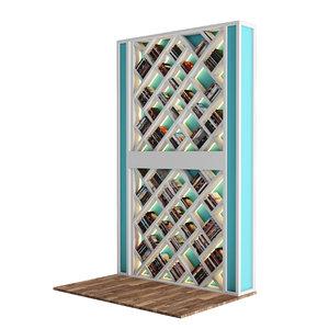 3D model diagonal wall shelves libraries
