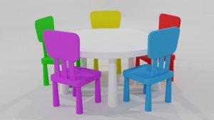 ikea table chair 3D
