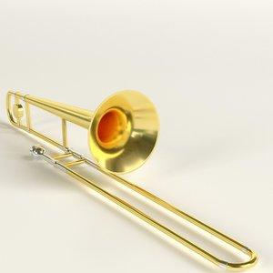 3D trombone musical instrument
