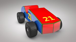 3D model wooden toy sport car