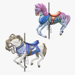 3D carousel horses