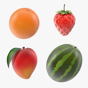 3D cartoon fruits 2 model