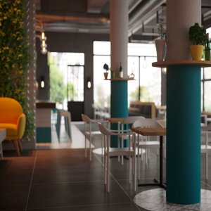 style coffeeshop bar restaurant 3D