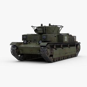 3D soviet t28 medium tank track model