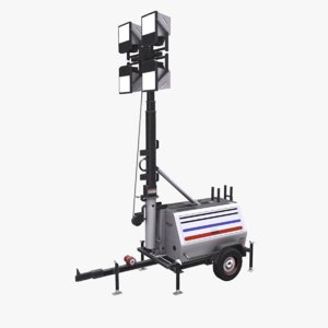 3D trailer light tower model